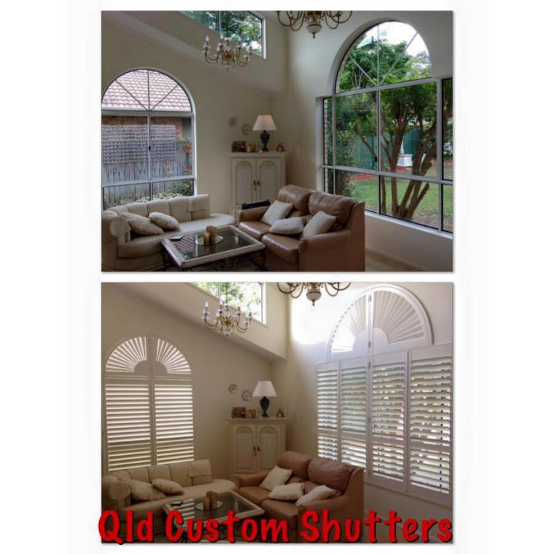 arched window plantation shutters before and after brisbane