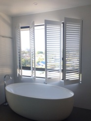 Greenslopes plantation shutters bathroom open