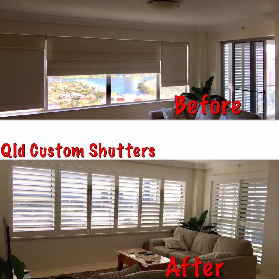 plantation shutters before and after photo gold coast