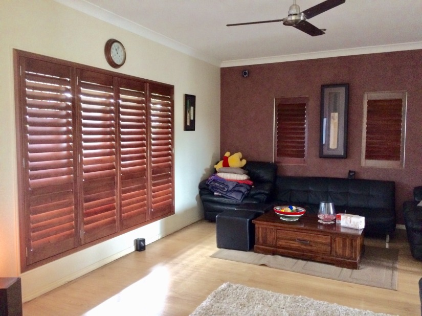 stained timber plantation shutters clayfield